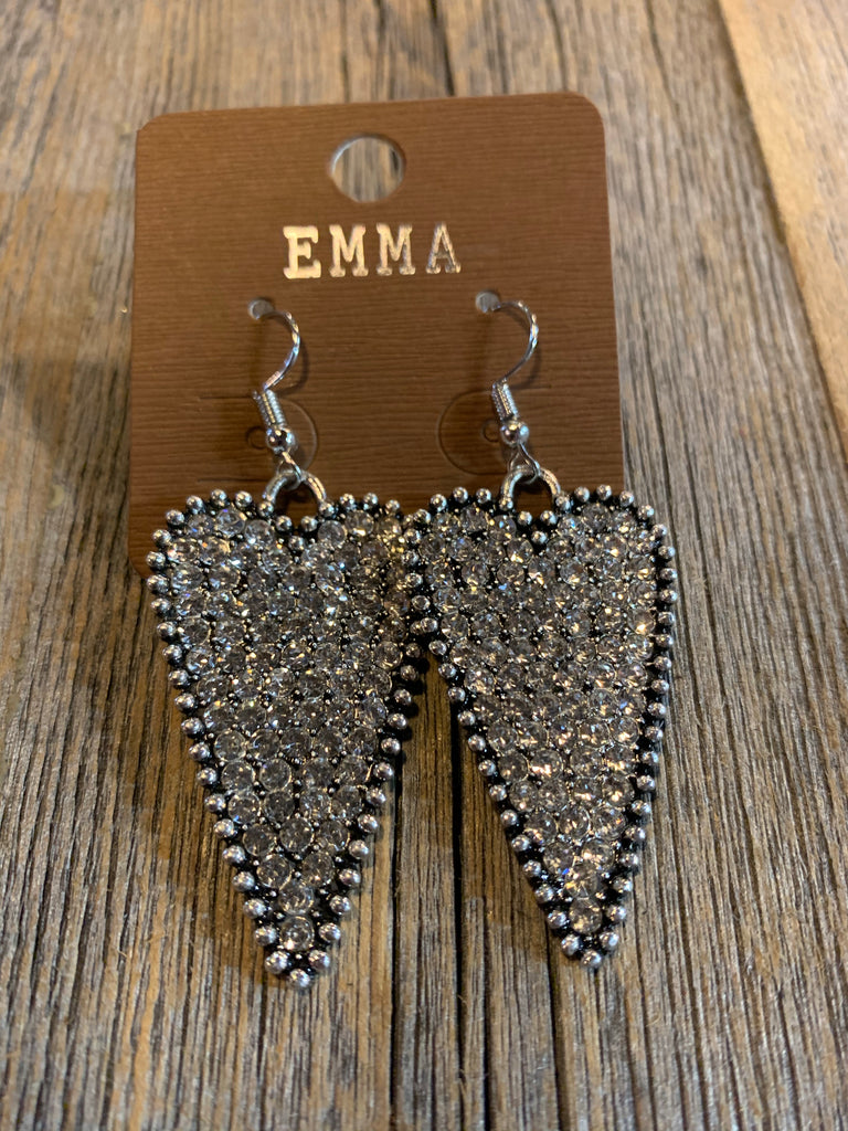 Silver Rhinestone Heart earrings