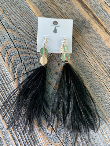 Black Feathery Earrings