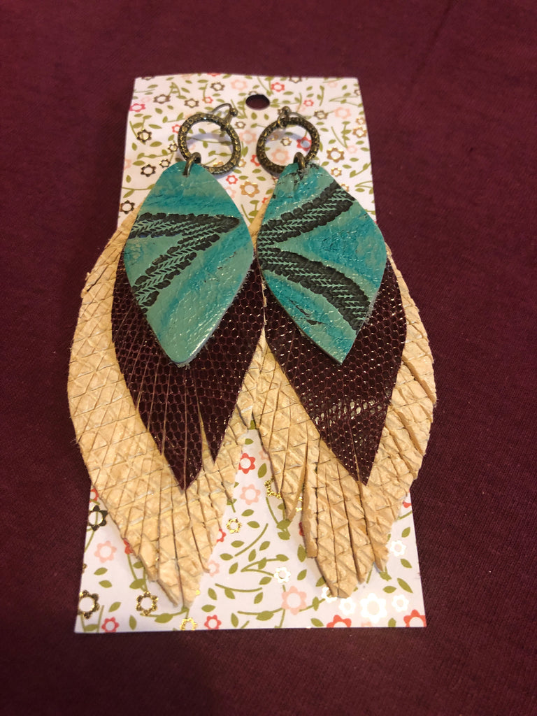 Leather Feather Earrings - Turquoise