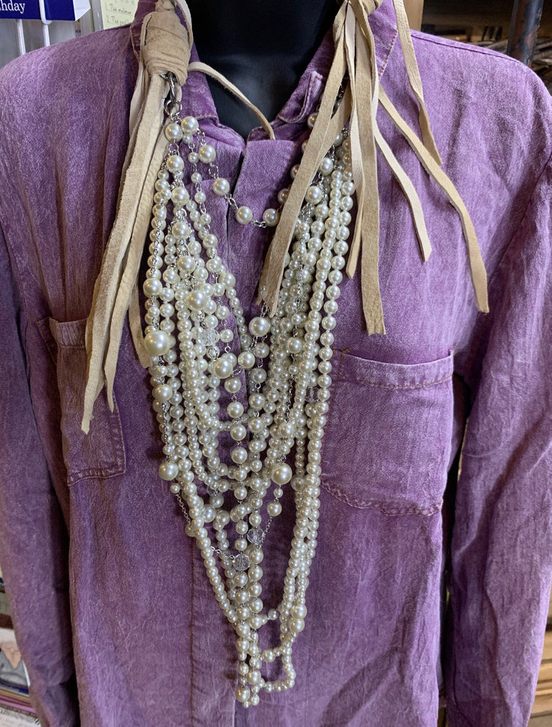 Art By Amy Multi Strand Pearl and Beige Leather Necklace