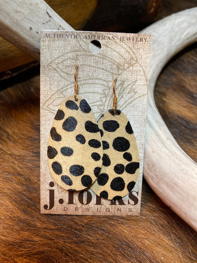 Leopard Horse Hide Teardrop Earrings