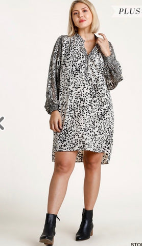Multi Animal Print Dress Plus