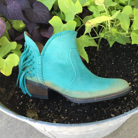 Circle G Turquoise Shorty Boot with Fringe