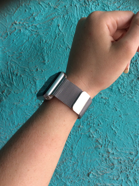Silver magnetic I watch band