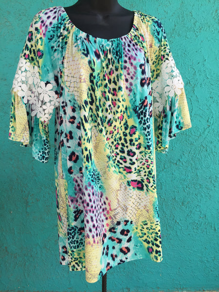 Turquoise Cheetah Dress