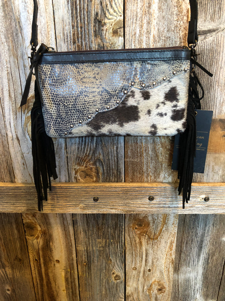 Black Fringe Snake Skin Print Hair-On Leather Cross Body