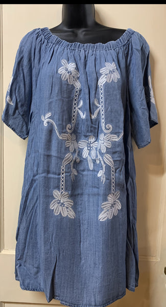 Denim Dress with Embroidery Flowers