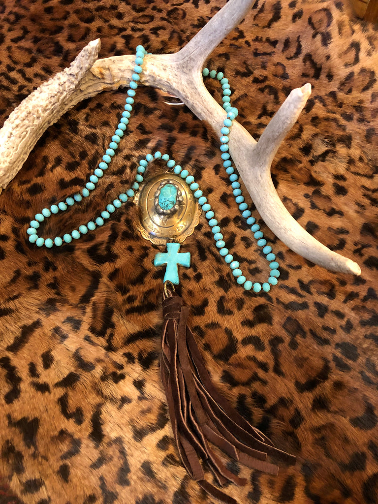 Turquoise Beaded Necklace with Brass and Leather
