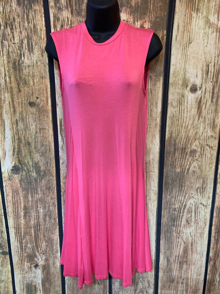 Pink Sleeveless A-Line Knit Dress