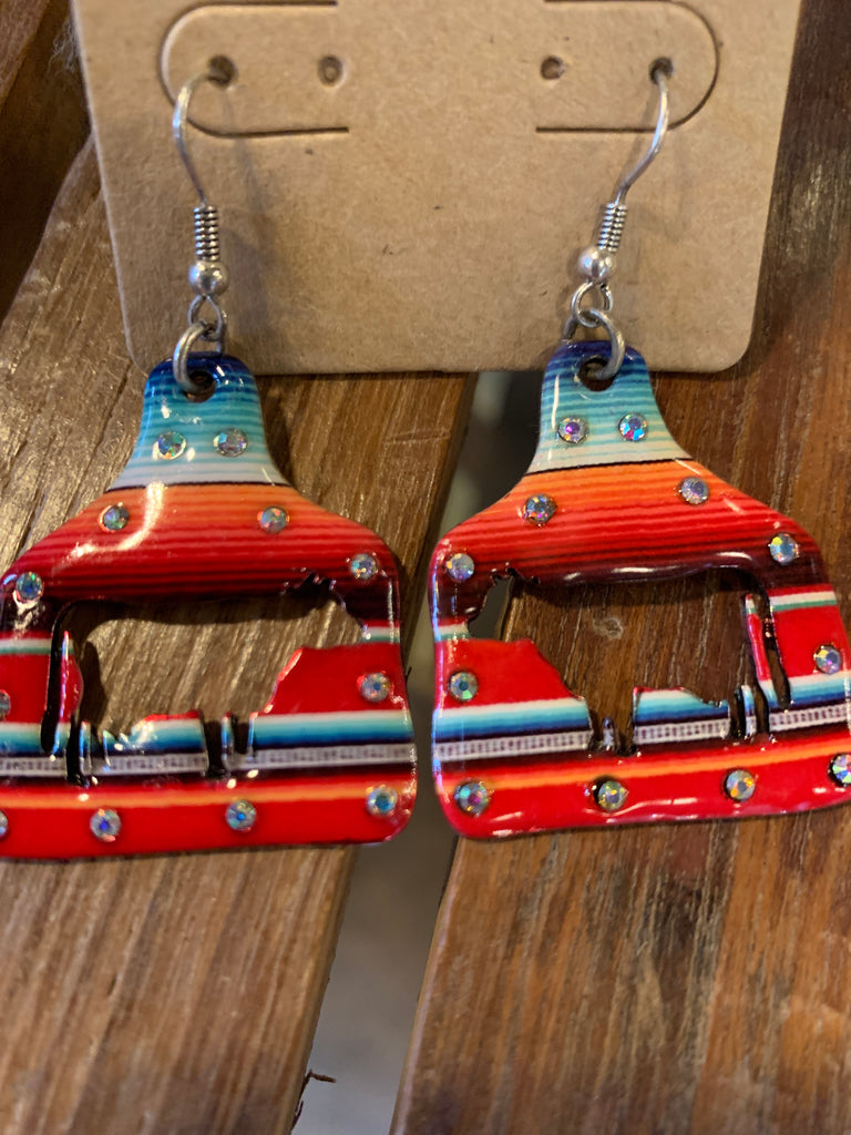 Serape Cow Earrings