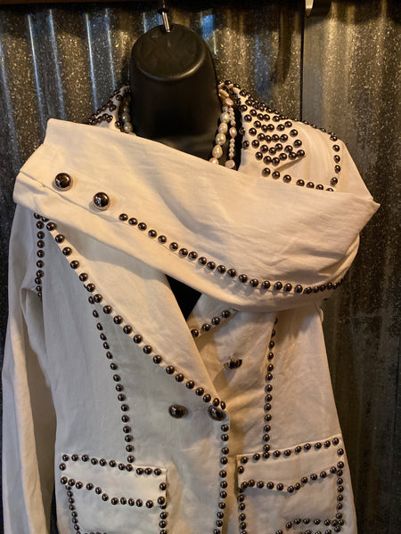 White Denim Jacket with Studs
