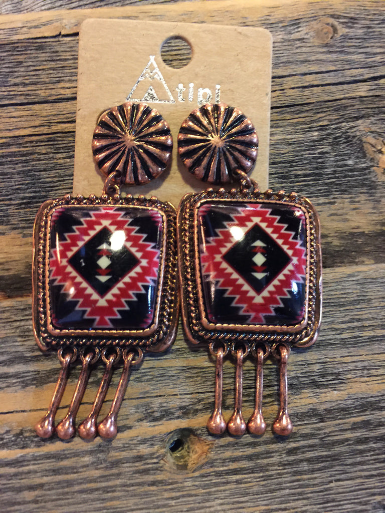 Red Navajo Earrings