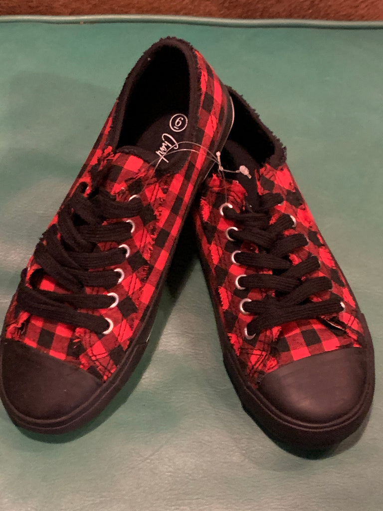 Charlie Paige Red Plaid Tennis Shoe