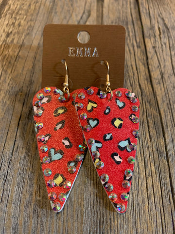 Red Animal Print Heart Earrings
