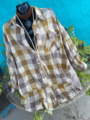 Khaki~Plaid Yarn Dye Shirt
