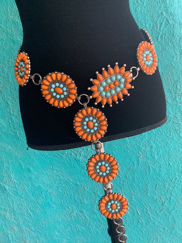 ORANGE AND TURQUOISE STONE CHAIN BELT
