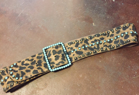 Cheetah with Square Turquoise Front Belt