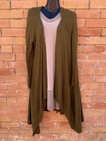 Long Cardigan in Dark Olive