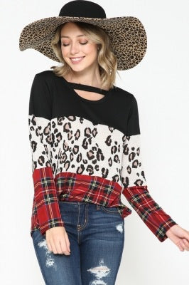 SOLID, LEOPARD, & PLAID PRINT CONTRAST ROUND NECK TOP