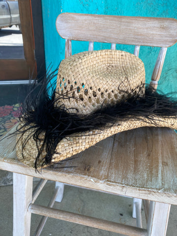 Feather Straw Hat