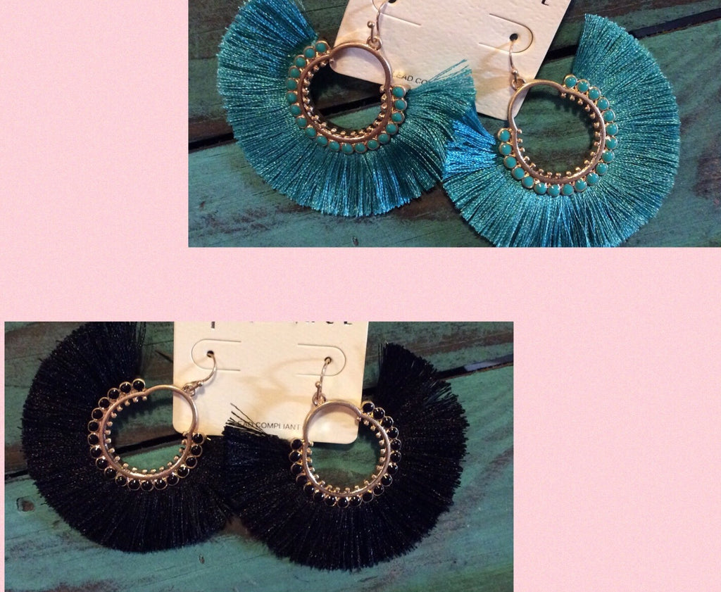 Round Tassel Hoop Earrings