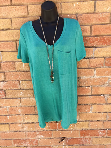 Turquoise V-Neck pocket t-shirt #045