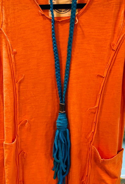 Braided Leather Tassel Necklace