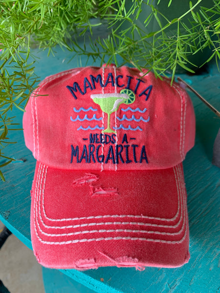 K&B Mamacita Needs a Margarita Ball Cap Coral