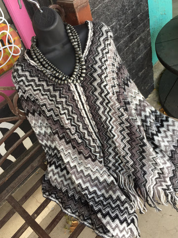 Grey Black and White Chevron Poncho