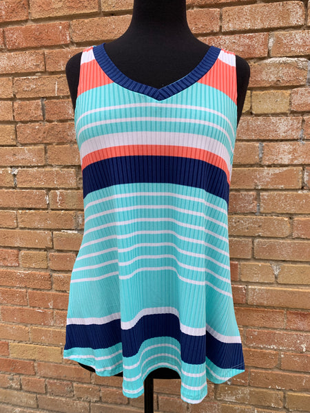Coral/Turquoise Stripe Tank Top