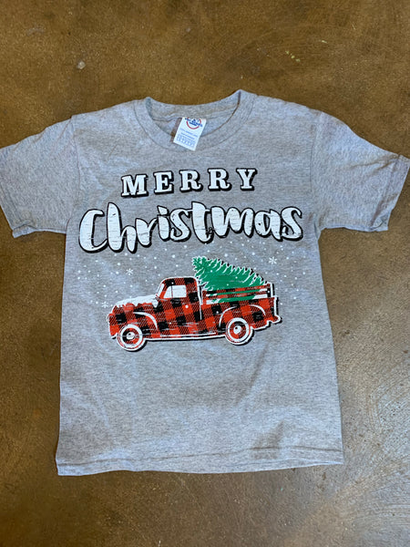 Merry Christmas T Shirt with Buffalo Plaid Truck - KIDS