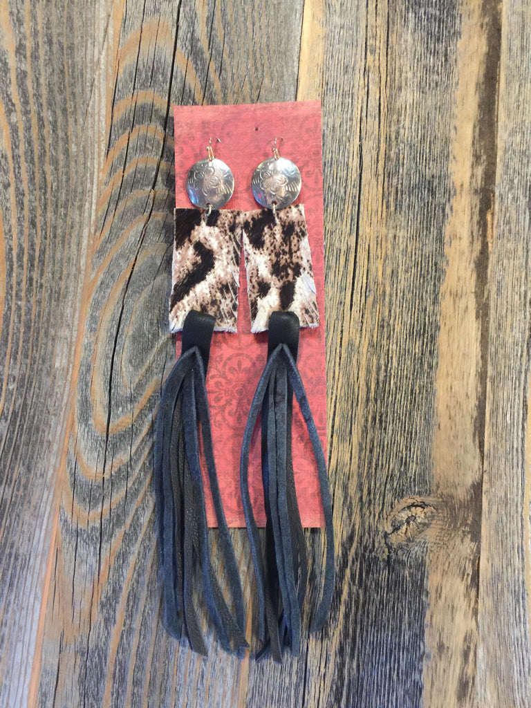Cheetah hide leather earrings with black fringe