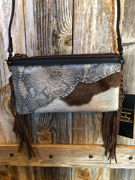 Brown Fringe Snake Skin Print Hair-On Leather Cross Body