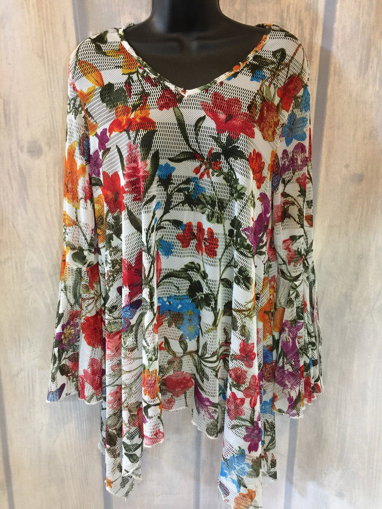 White Floral Sheer Bell Sleeve Blouse