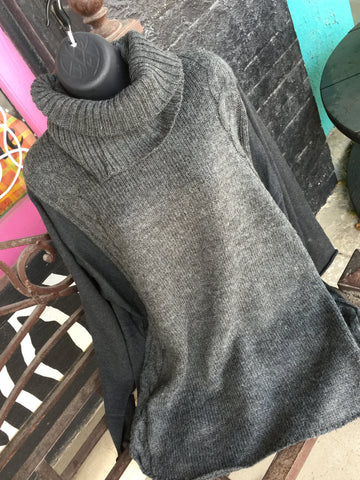 Charcoal Sweater with Removable Turtleneck