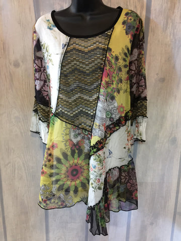 Multi Color Patch Print Top
