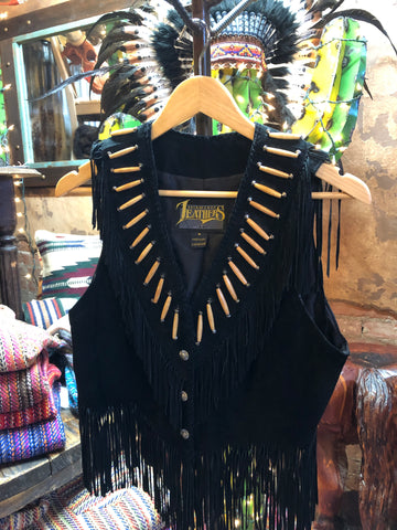 Diamond Leathers Suede Bone Beaded Fringe Vest (Medium)