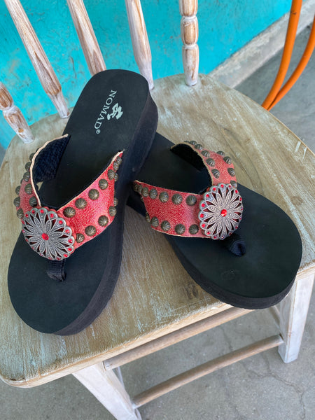 Red Distressed Leather Flip Flops