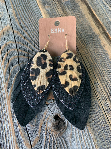Leopard Glitter Earrings