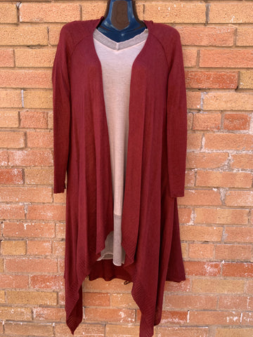 Long Cardigan in Garnet