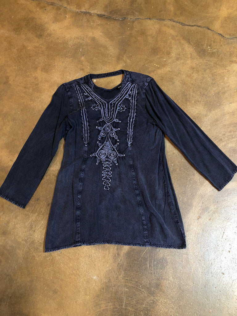 Sale Item - Navy Embroidery Tunic