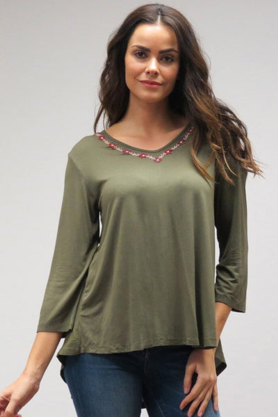 Caite Salina Olive Night Tee