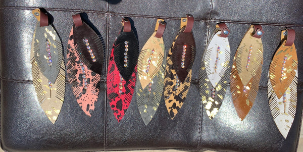 Leather Feather Charms