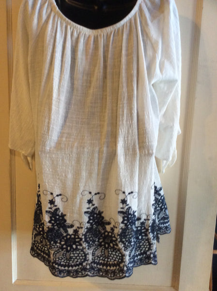 White with Navy Embroidery Tunic