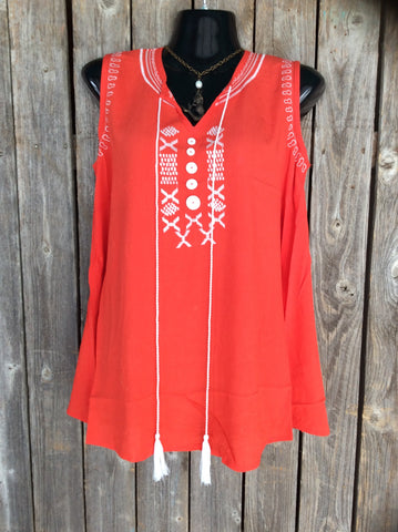 Sleeveless Orange Embroidery Tank