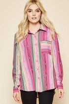Andree Pink Stripe Cactus Patch Blouse K15775 untucked