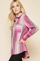 Andree Pink Stripe Cactus Patch Blouse K15775 side