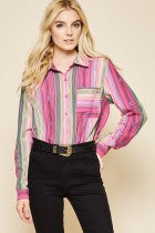 Andree Pink Stripe Cactus Patch Blouse K15775