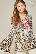 Leopard Top w/Embroidery- Plus