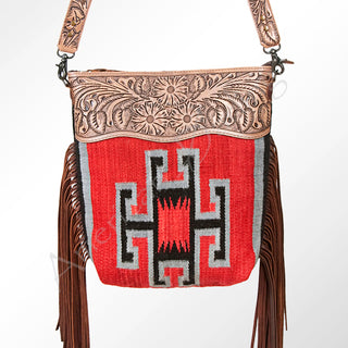 Red/Black Saddle Blanket Purse W/ Fringe